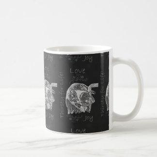 Drawing of Dog Drinking in Chalk Coffee Mug