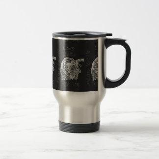 Drawing of Dog Drinking in Chalk Mug