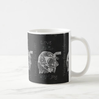 Drawing of Dog Drinking in Chalk Mugs