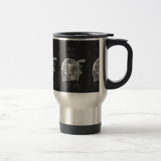 Drawing of Dog Drinking in Chalk Stainless Steel Travel Mug