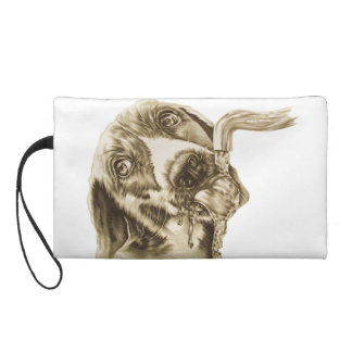 Drawing of Dog Drinking on Wristlet