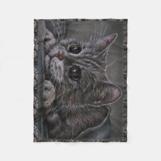 Drawing of Grey Kitten on Blanket