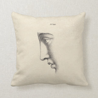 Drawing of Handsome Man's Face Antique French Cushion