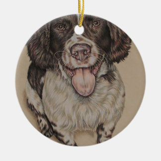 Drawing of Happy and Cute Springer Spaniel Round Ceramic Decoration