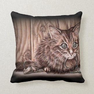 Drawing of Kitten Cute Pet Portrait Cat Cushion
