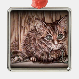 Drawing of Kitten Cute Pet Portrait Cat Silver-Colored Square Decoration