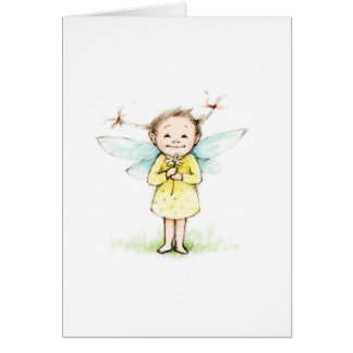 Drawing of little fairy with flower greeting card