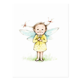 Drawing of little fairy with flower postcard
