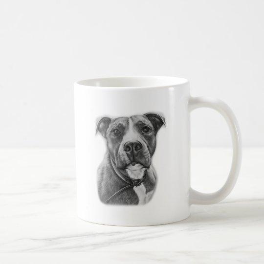 Drawing of Pit Bull Dog Animal Art Coffee