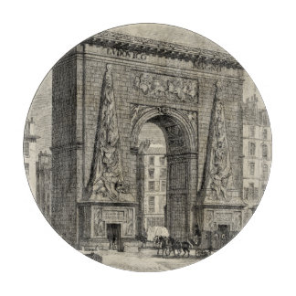 Drawing of Porte Saint-Denis Monument Cutting Board