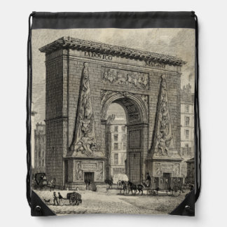 Drawing of Porte Saint-Denis Monument Drawstring Bag