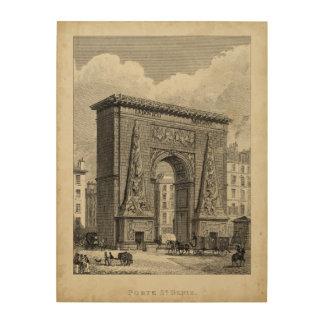 Drawing of Porte Saint-Denis Monument Wood Wall Decor