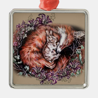 Drawing of Red Fox and Bunny Animal Art and Lilies Christmas Ornament
