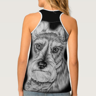 Drawing of Schnauzer Dog Art Tank Top