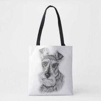 Drawing of Schnauzer Dog Art Tote Bag