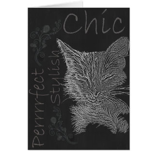 Drawing of Sleepy Cat in Chalk Greeting Card
