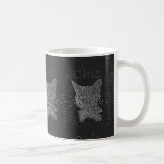Drawing of Sleepy Cat in Chalk Mug