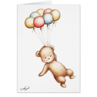 Drawing of Teddy Bear flying with balloons Greeting Card