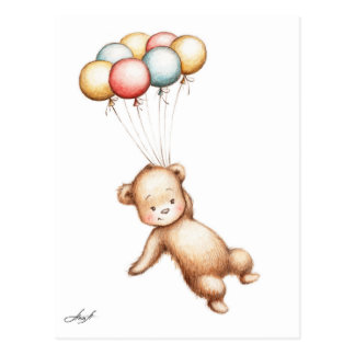 Drawing of Teddy Bear flying with balloons Postcard