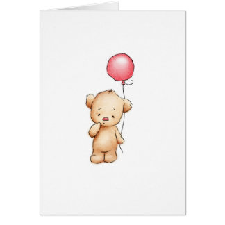 Drawing of teddy bear with red balloon greeting card