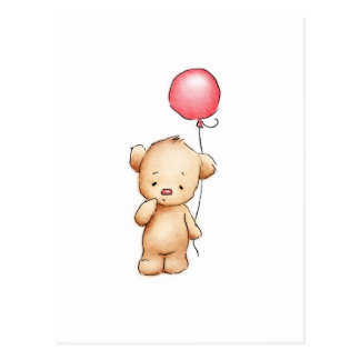 Drawing of teddy bear with red balloon postcard