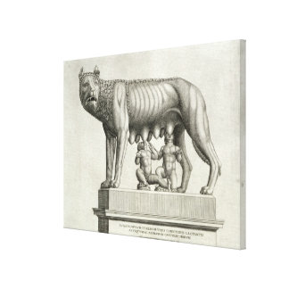 Drawing of the Etruscan bronze of the she-wolf suc Canvas Print