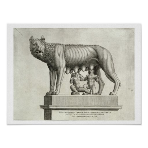 Drawing of the Etruscan bronze of the she-wolf suc Poster