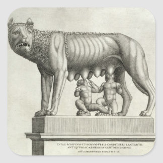 Drawing of the Etruscan bronze of the she-wolf suc Square Sticker