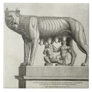 Drawing of the Etruscan bronze of the she-wolf suc Tile