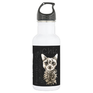 Drawing of White Cat in Chalk 532 Ml Water Bottle