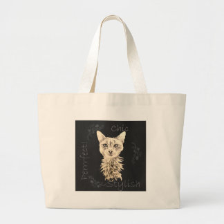 Drawing of White Cat in Chalk Canvas Bags