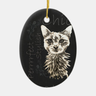 Drawing of White Cat in Chalk Ceramic Oval Decoration