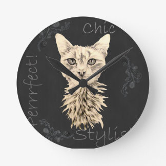 Drawing of White Cat in Chalk Wall Clock