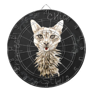 Drawing of White Cat in Chalk Dartboards