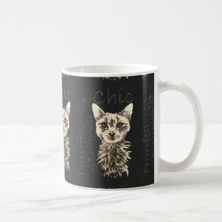 Drawing of White Cat in Chalk Coffee Mugs