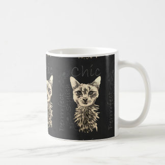 Drawing of White Cat in Chalk Coffee Mug