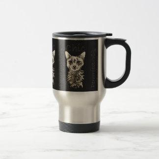 Drawing of White Cat in Chalk Mug