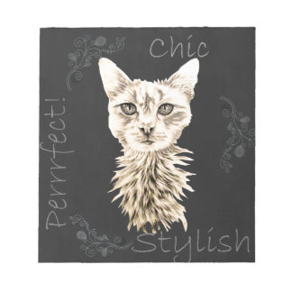 Drawing of White Cat in Chalk Memo Notepads