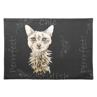 Drawing of White Cat in Chalk Place Mats