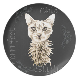 Drawing of White Cat in Chalk Dinner Plates
