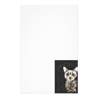 Drawing of White Cat in Chalk Stationery Design