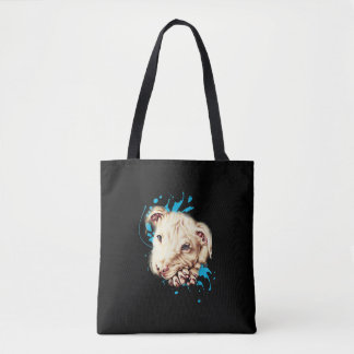 Drawing of White Pit Bull and Blue Paint on Tote