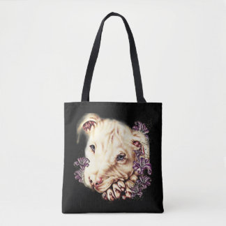 Drawing of White Pitbull Dog and Lilies Art Tote