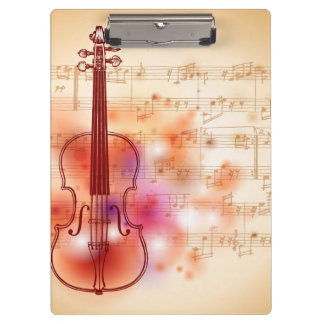 Drawing on watercolor background of violin clipboard