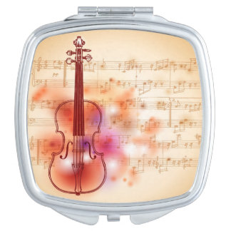 Drawing on watercolor background of violin compact mirror