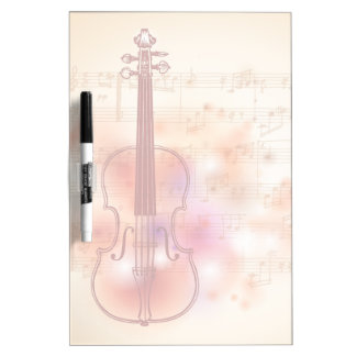 Drawing on watercolor background of violin dry erase whiteboard
