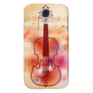 Drawing on watercolor background of violin galaxy s4 case