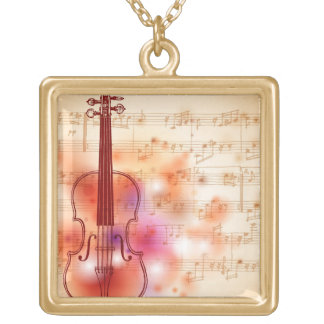 Drawing on watercolor background of violin gold plated necklace