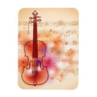 Drawing on watercolor background of violin magnet