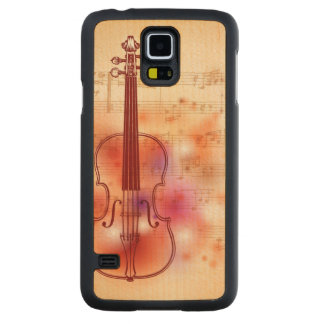 Drawing on watercolor background of violin maple galaxy s5 case